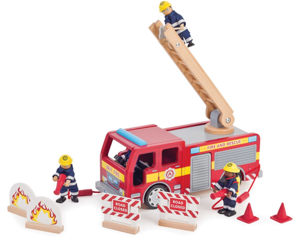 Children's Wooden Toy Fire Engine set - Tidlo