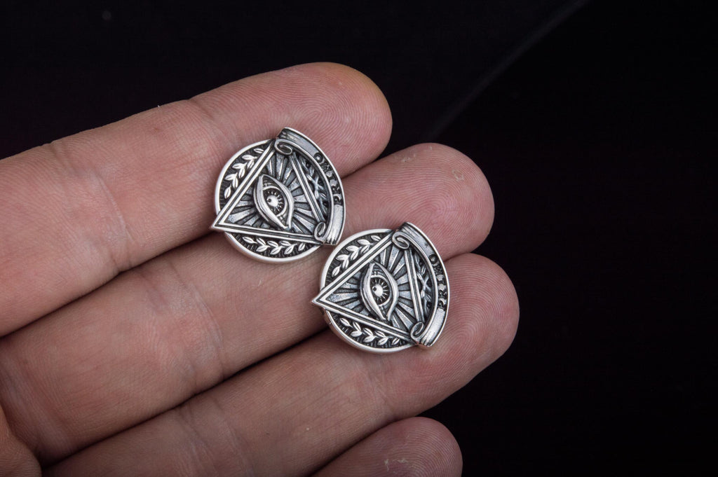 Unique Cufflinks with Masonic Symbol Sterling Silver Handmade Jewelry