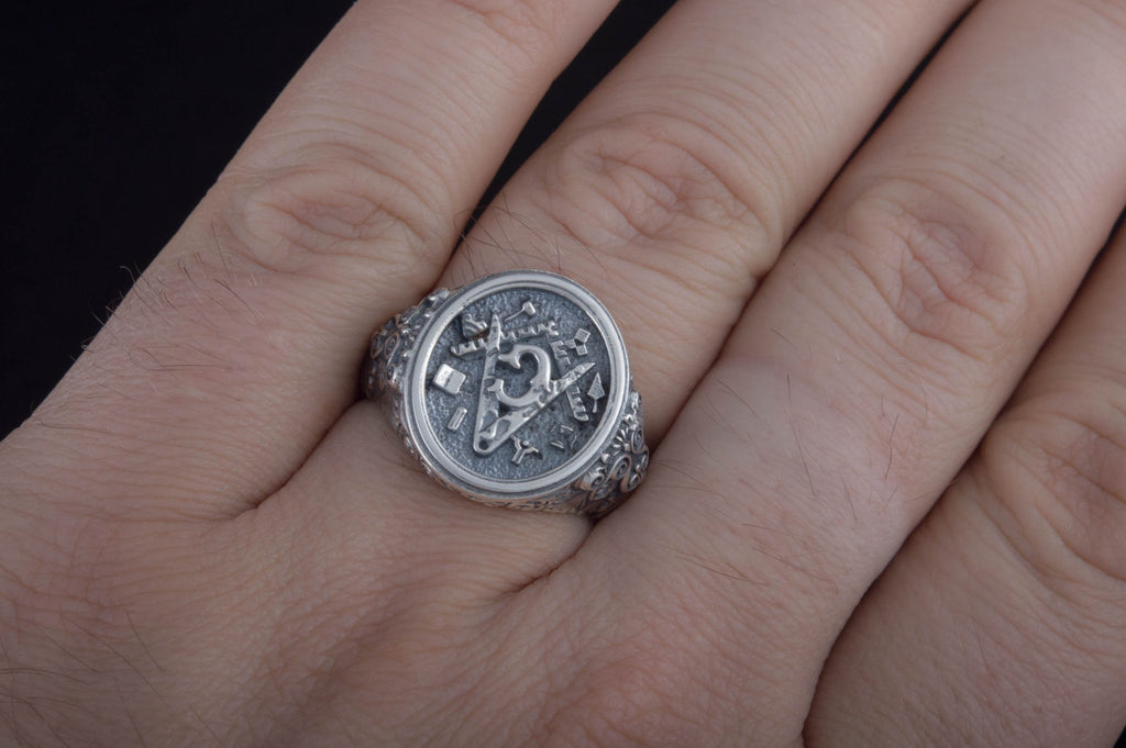 Handcrafted Ring with Masonic Symbol Sterling Silver Jewelry