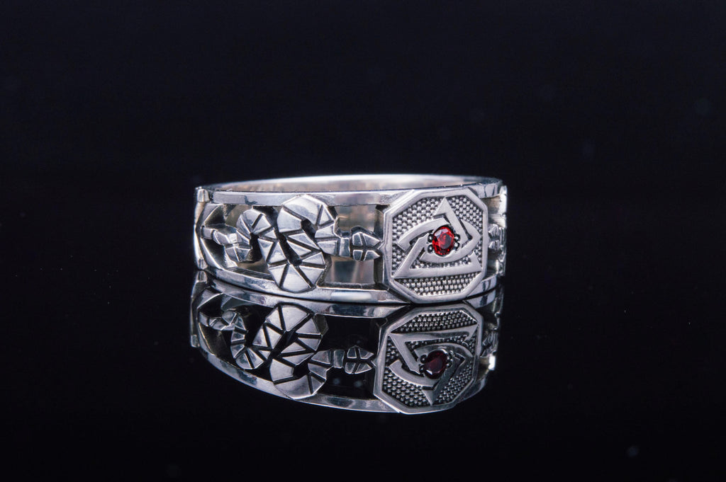 Masonic Ring with Red Cubic Zirconia