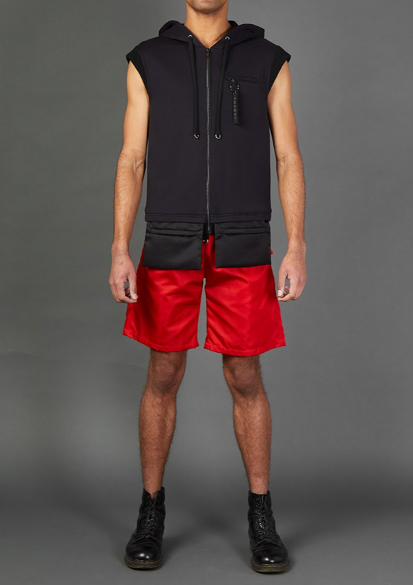 Black Sleeveless Hoodie with Envelope Pockets - Dhenze
