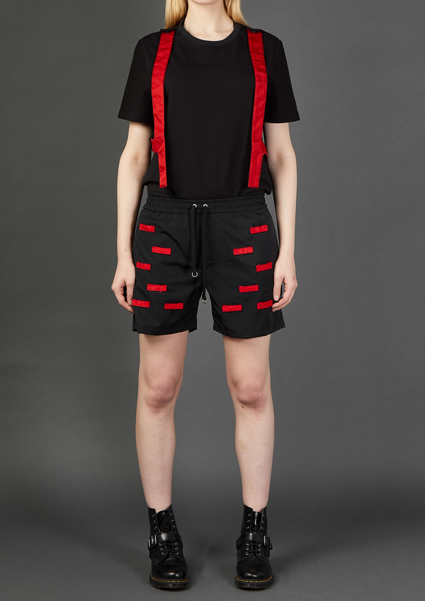 Black/Red Nylon Looped Shorts - Dhenze