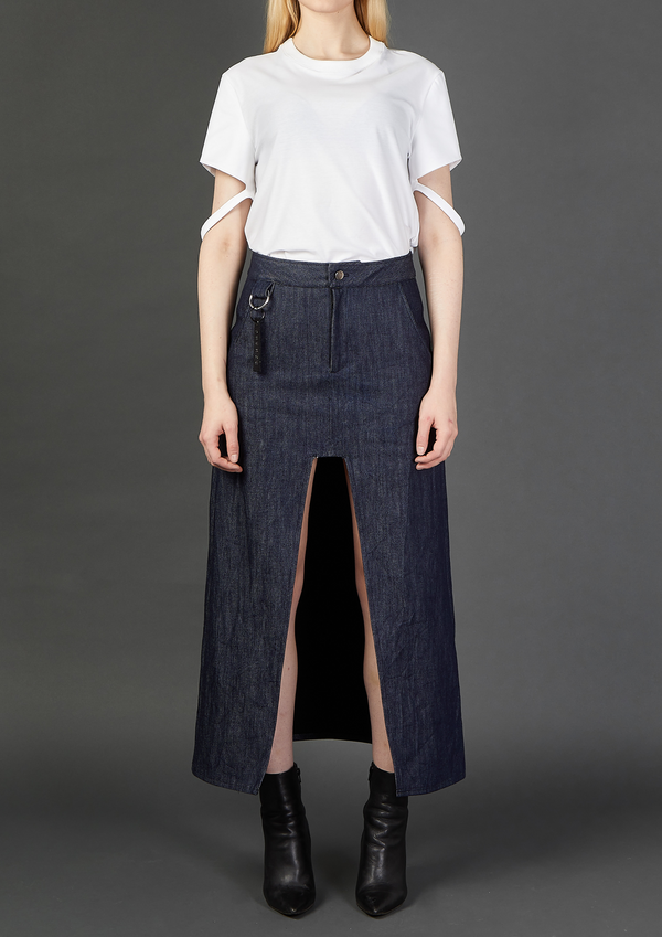 Long Denim Skirt With Front Cut-Out - Dhenze