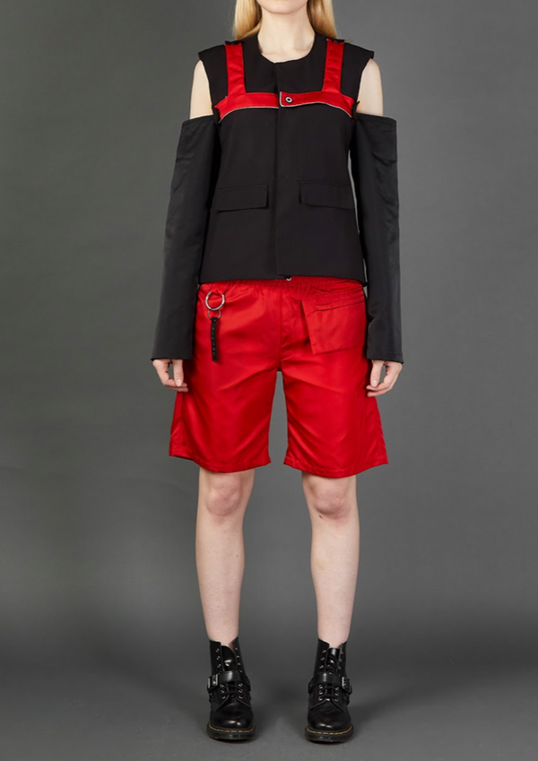 Black/Red Drop Sleeve Harness Blazer - Dhenze
