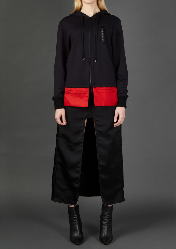Black Hoodie with Envelope Pockets - Dhenze