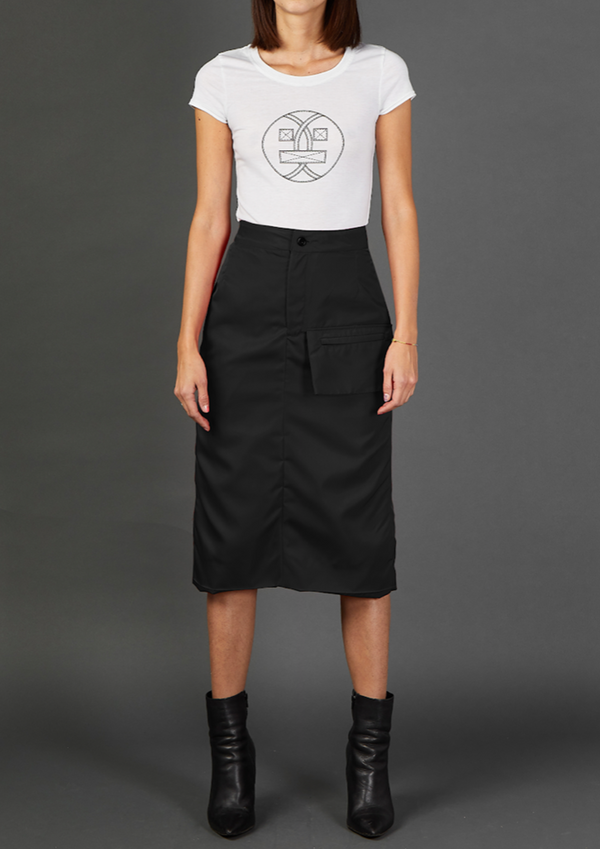 Black Nylon Skirt With Envelope Pocket - Dhenze