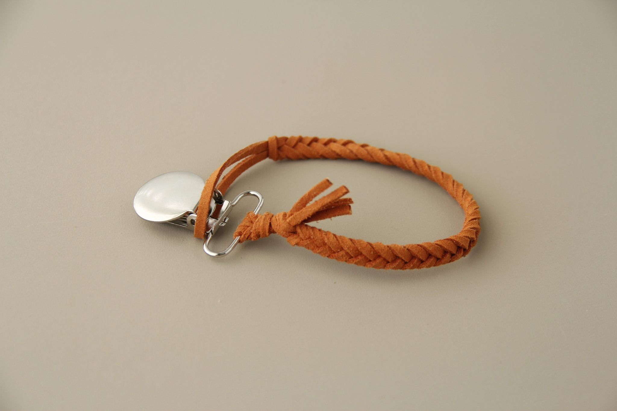 Braided Leather Pacifier Clip