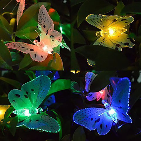 Solar Powered Butterfly 12 LED Lights