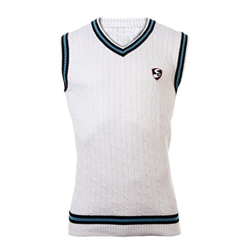 SG Icon Sleeveless Cricket Sweater (White)