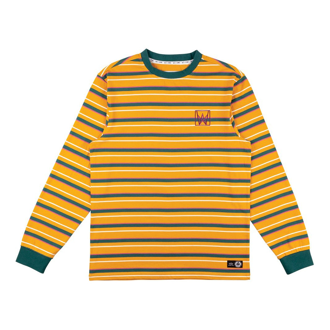 Welcome Icon Stripe Knit Crew Gold/Dusty Teal/Rose Long Sleeve Shirt