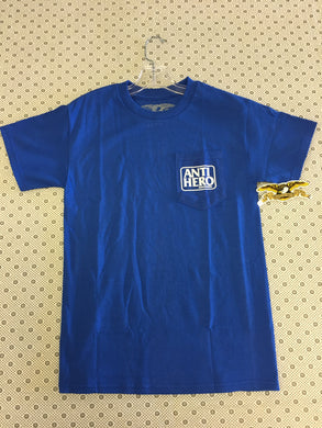 Antihero Pocket Logo Blue Small T-Shirt