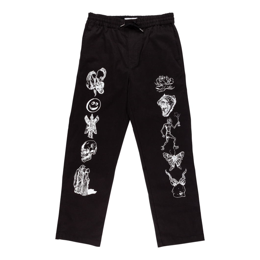 Welcome Black Emblem Printed Pants