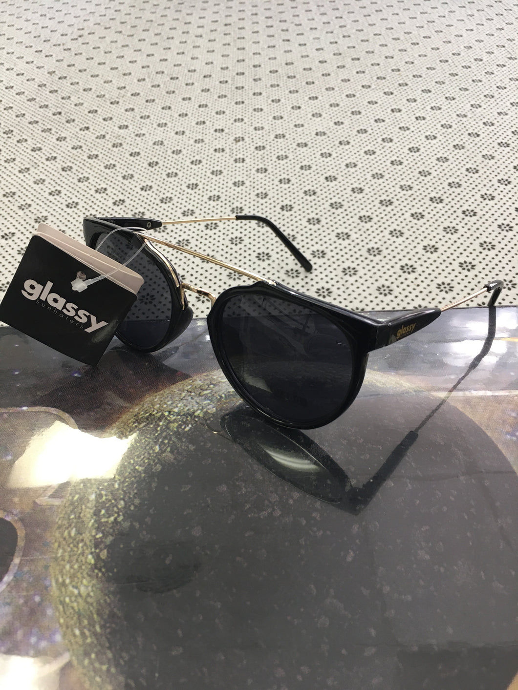 Glassy Black and Gold Sunglasses