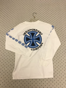 Independent Cross Logo White & Blue size Small Long Sleeve T-Shirt