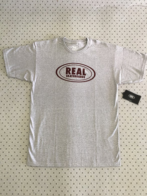 Real Skateboarding Oval T-Shirt Grey & Burgundy