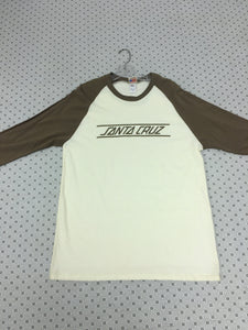 Santa Cruz 3/4 Sleeve T-Shirt size Large White & Brown
