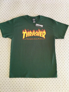 Thrasher Flames T-Shirt Forest Green