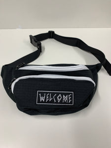Welcome Scrawl Black and White Hip Bag