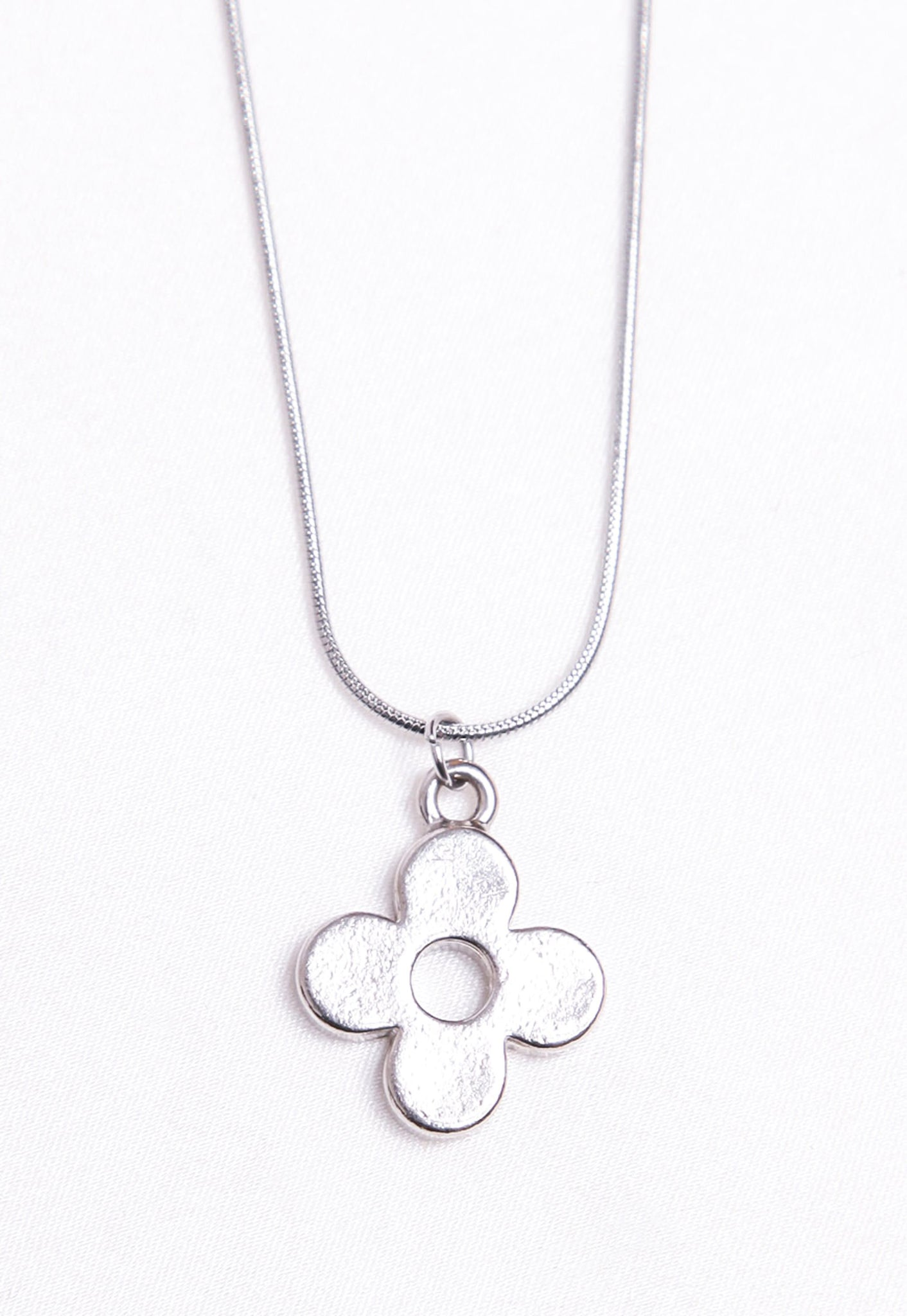 Reworked Louis Vuitton Silver Round Flower Pendant Necklace