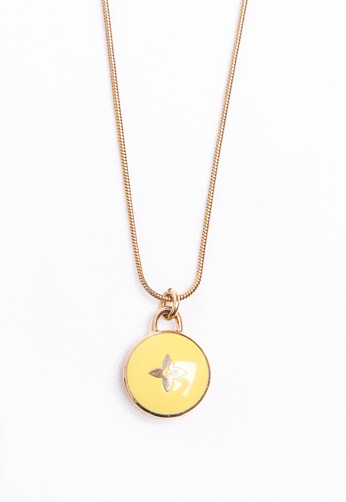 Reworked Louis Vuitton Yellow Flower Pendant Necklace