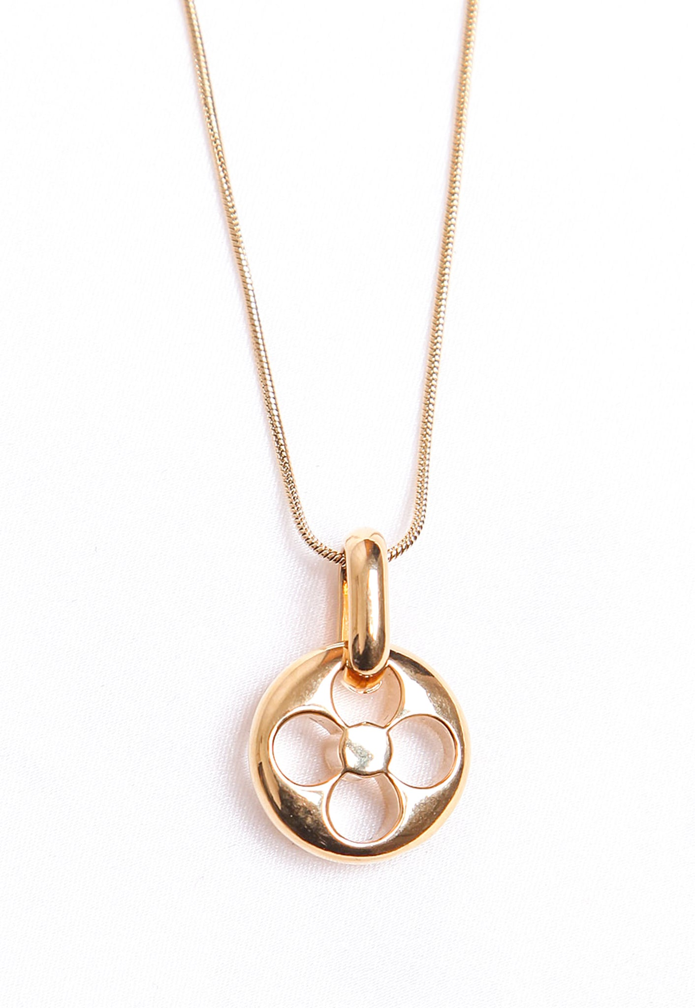 Reworked Louis Vuitton Gold Round Flower Pendant Necklace