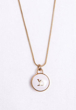 Reworked Louis Vuitton Light Grey Lilac LV Pendant Necklace