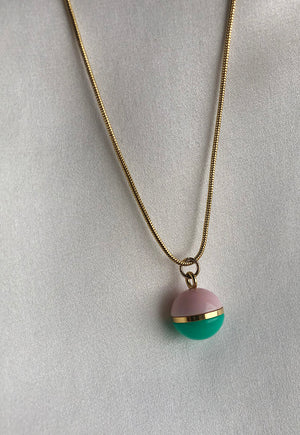 Reworked Louis Vuitton Lilac & Green Ball Pendant Necklace