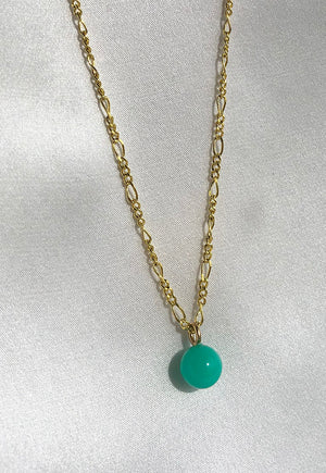 Reworked Louis Vuitton Green Ball Pendant Necklace