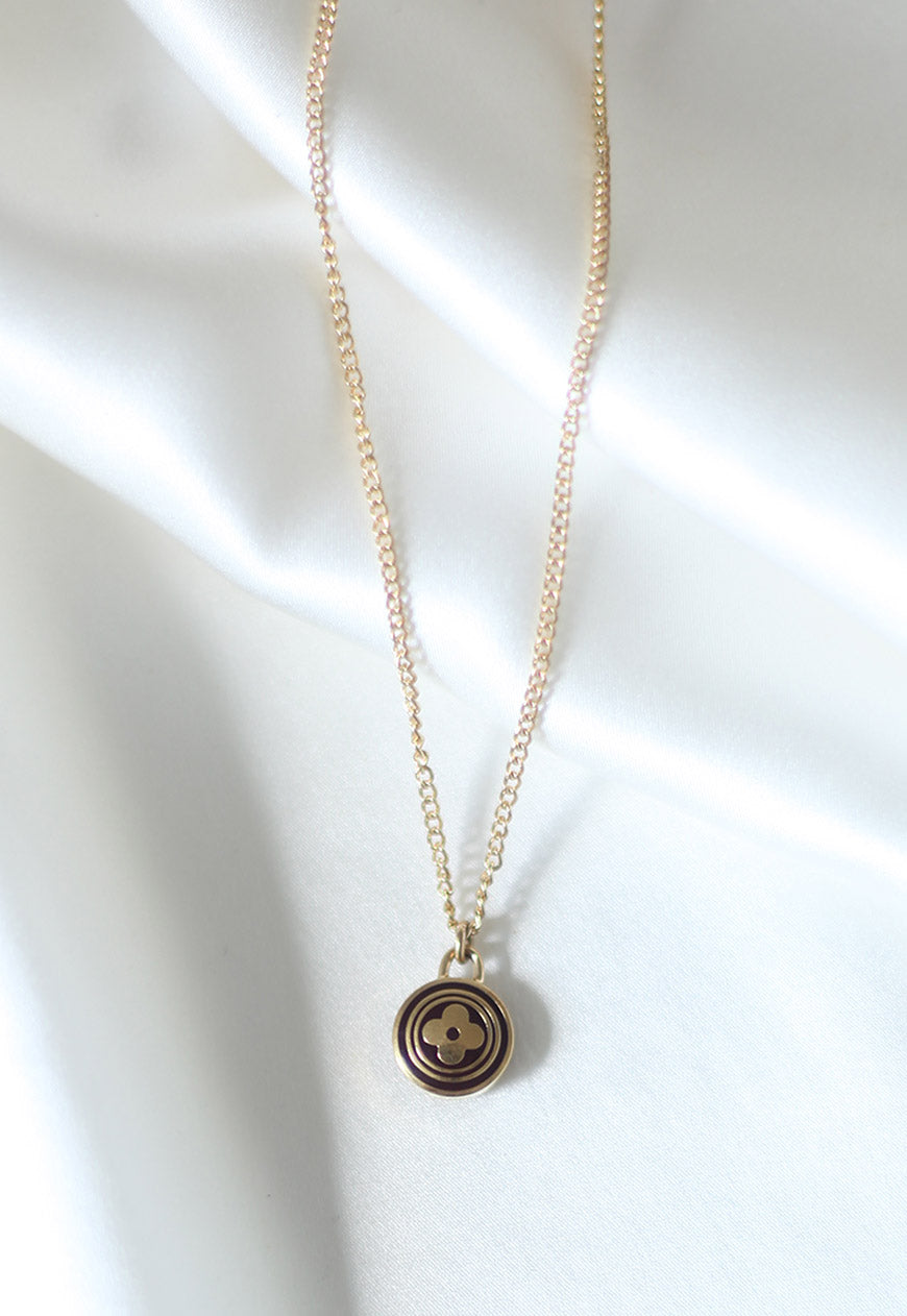 Reworked Louis Vuitton Dark Brown Round Flower Pendant Necklace