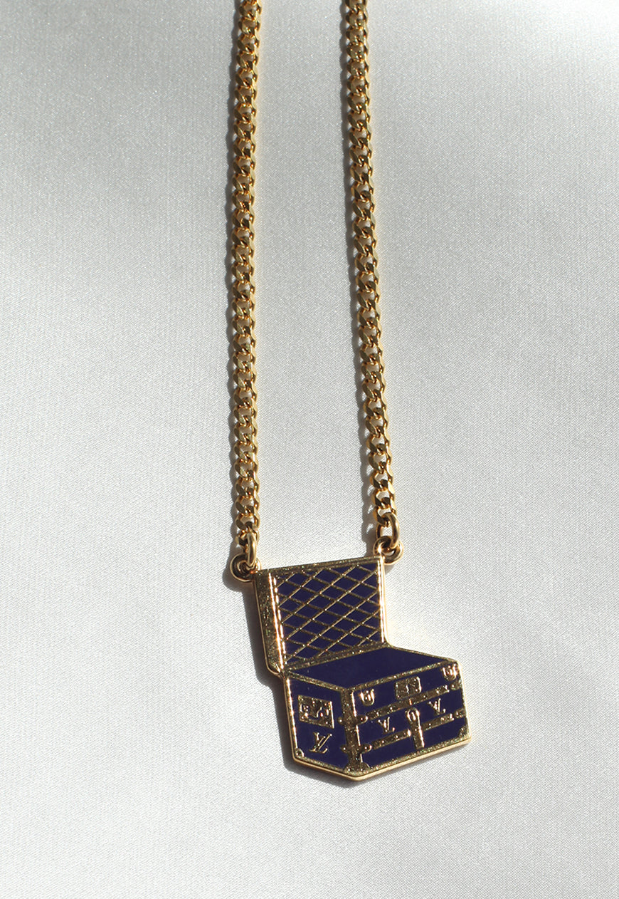 Reworked Louis Vuitton Blue Trunk Pendant Necklace