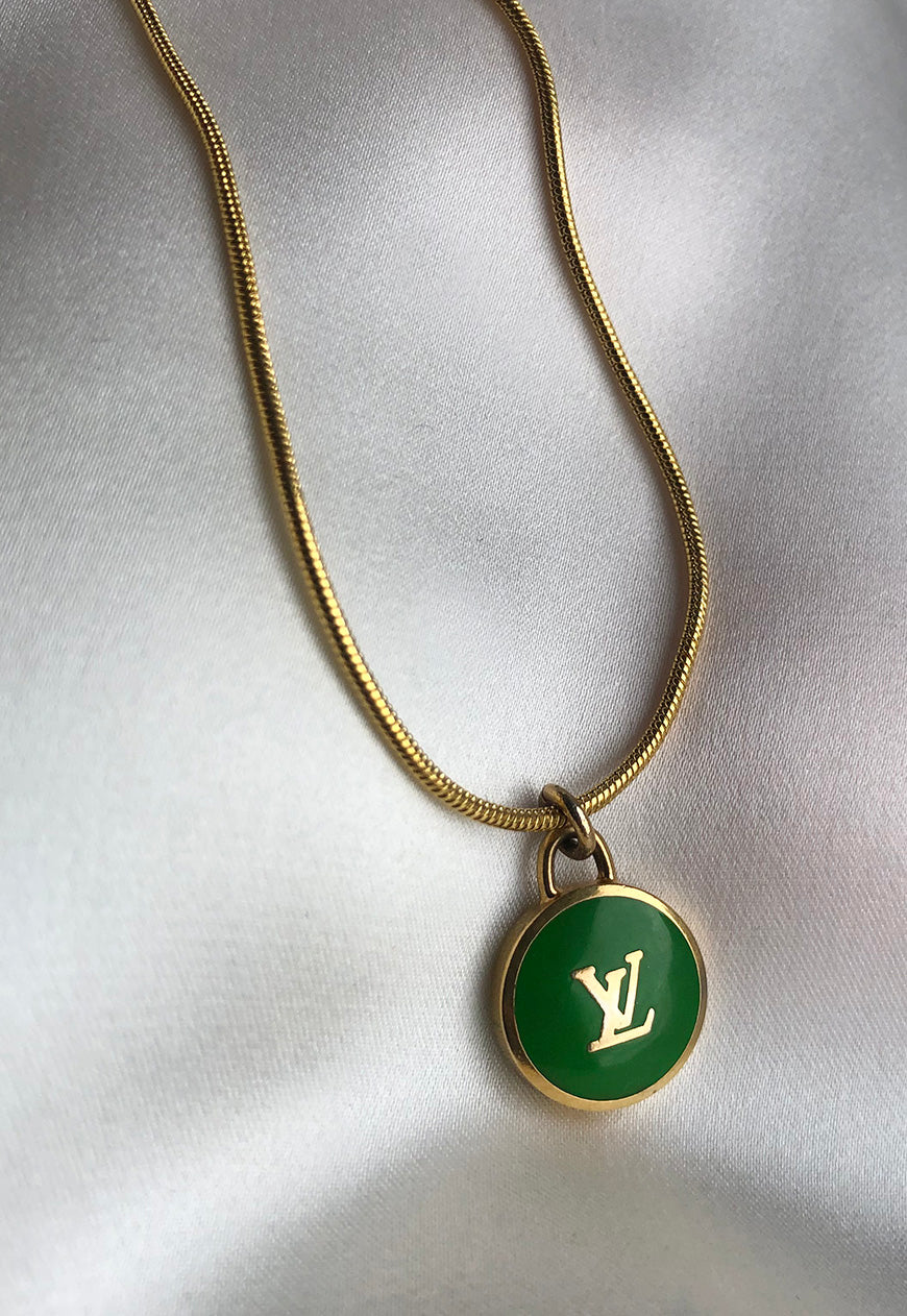 Reworked Louis Vuitton Green LV Pendant Necklace