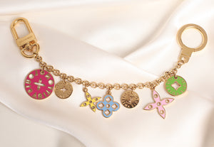 Reworked Louis Vuitton Reversible Green Pink Disc Pendant Necklace