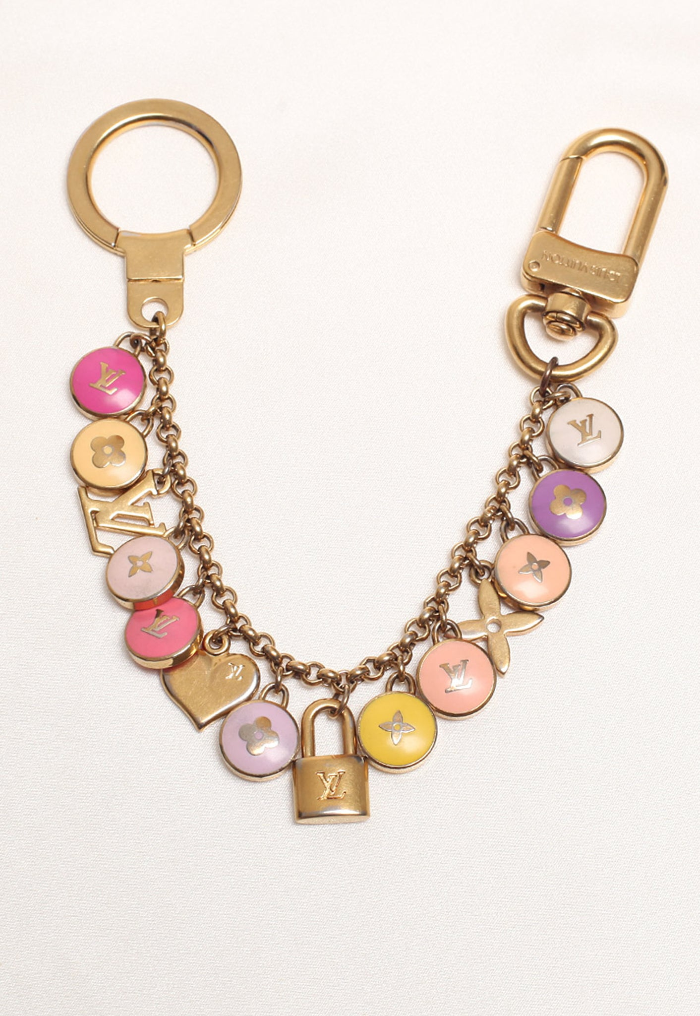 Reworked Louis Vuitton Light Peach Pink LV Pendant Necklace