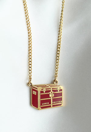 Reworked Louis Vuitton Red Trunk Pendant Necklace