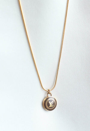 Reworked Louis Vuitton Deep Brown LV Pendant Necklace