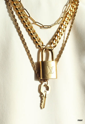 Pre-Order The Reworked Standard Sized Louis Vuitton Padlock Layered Necklace
