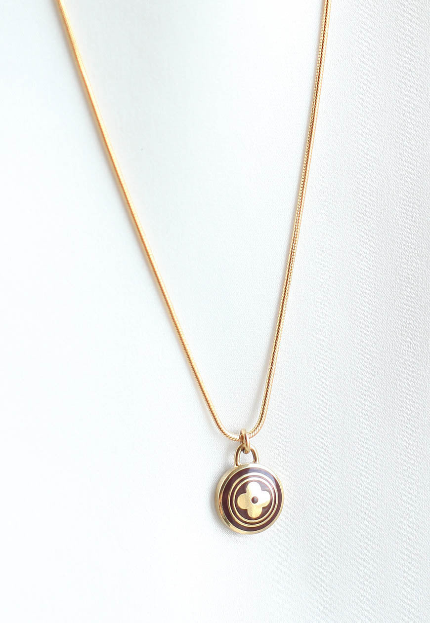 Reworked Louis Vuitton Brown Round Flower Pendant Necklace
