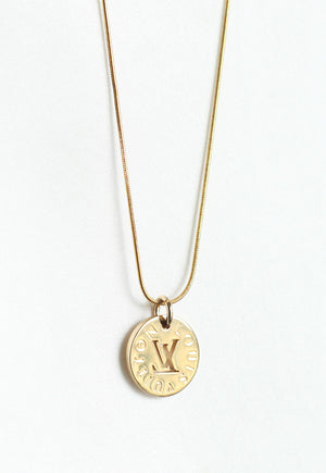 Reworked Louis Vuitton Gold LV Disc Pendant Necklace