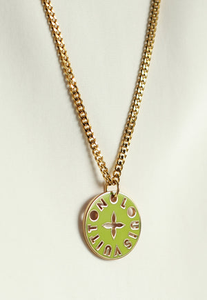 Reworked Louis Vuitton Green/Pink Pendant Necklace