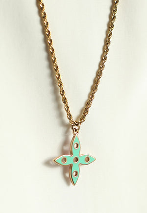 Reworked Louis Vuitton Turquoise/Lilac Flower Pendant Necklace