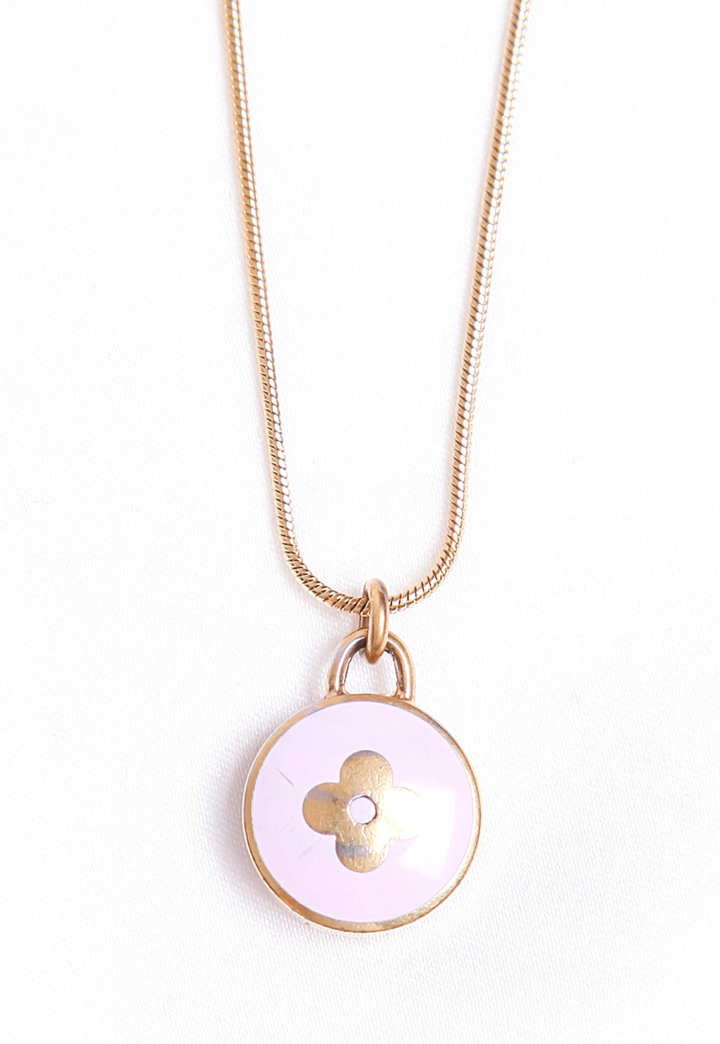 Reworked Louis Vuitton Lilac Round Flower Pendant Necklace