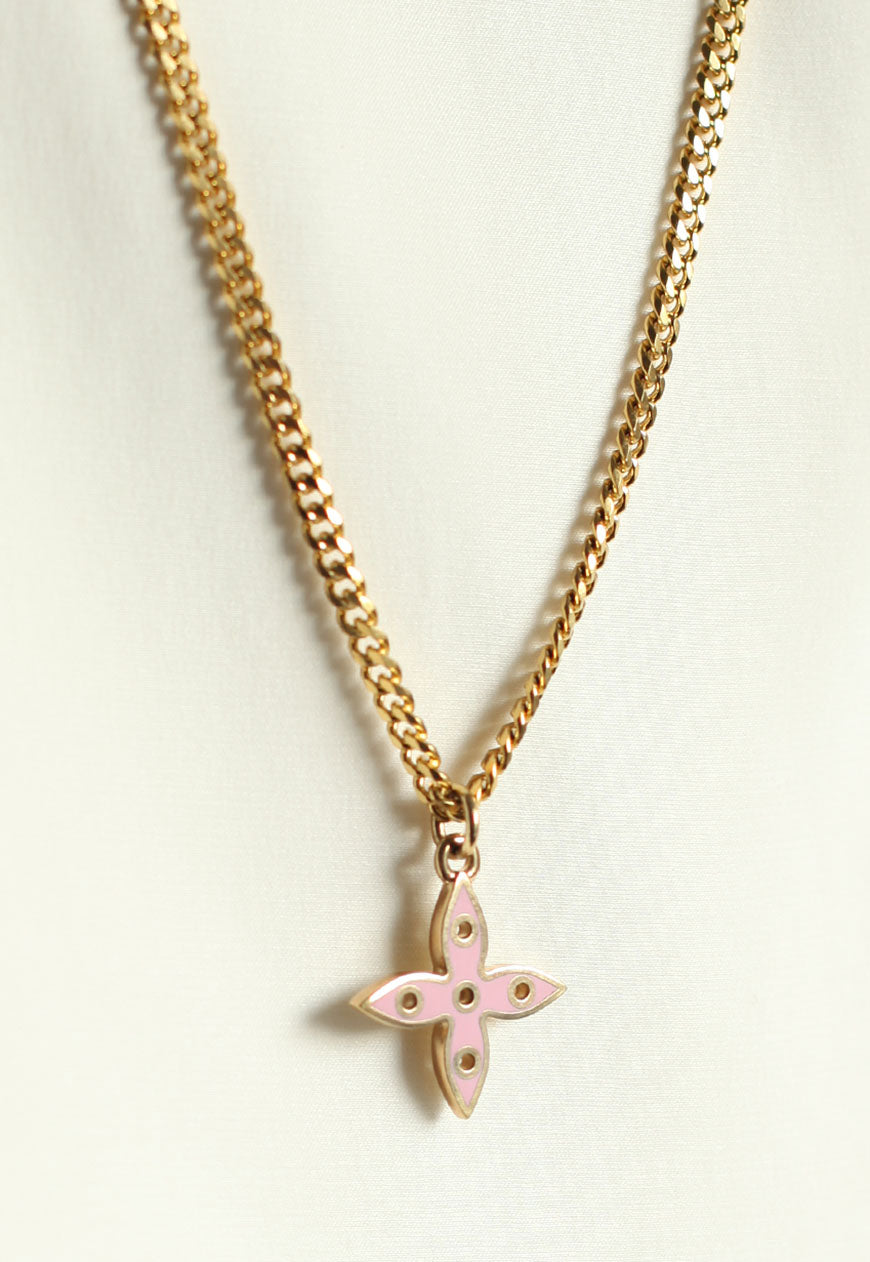 Reworked Louis Vuitton Yellow/Lilac Flower Pendant Necklace