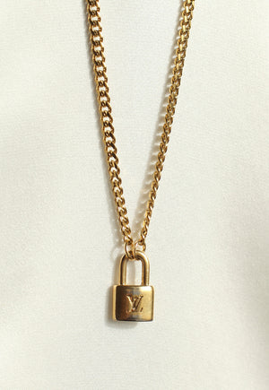 Reworked Louis Vuitton Mini Lock LV Pendant Necklace