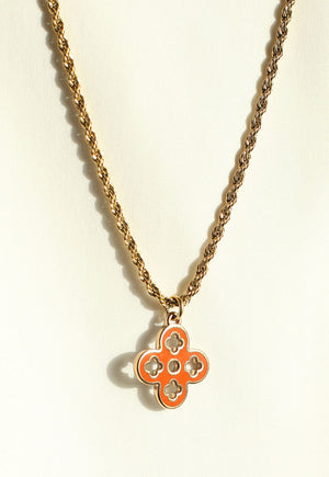 Reworked Louis Vuitton Blue/Orange Pendant Necklace