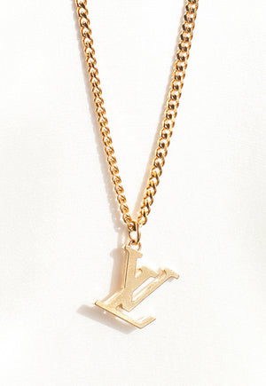 Reworked Louis Vuitton Gold LV Pendant Necklace