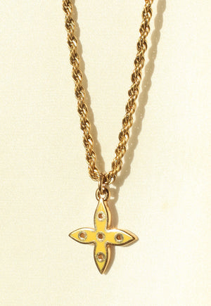 Reworked Louis Vuitton Lilac Yellow Flower Pendant Necklace
