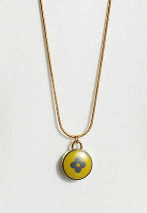 Reworked Louis Vuitton Lime Pendant Necklace