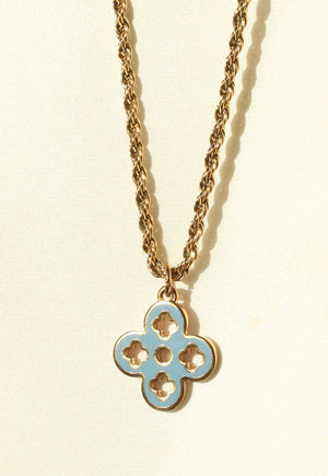 Reworked Louis Vuitton Orange Blue Pendant Necklace