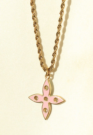 Reworked Louis Vuitton Turquoise Lilac Flower Pendant Necklace