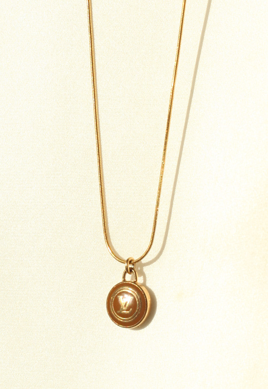 Reworked Louis Vuitton Light Brown LV Pendant Necklace
